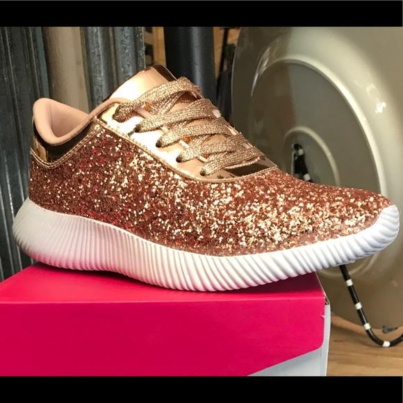 Rose Gold Glitter Tennis Shoes